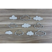 Nuvens vazadas - Chipboard - Kit com 10 peças - Design by Megui