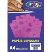 Papel glitter coração tamanho A4 150g c/ 10 folhas - Off Paper