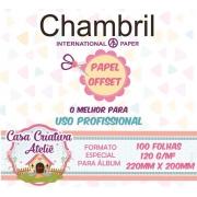 Papel offset chambril 120g/m² - 20x22cm - 100 folhas