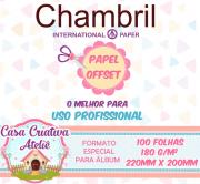 Papel offset chambril 180g/m² - 20x22cm - 100 folhas