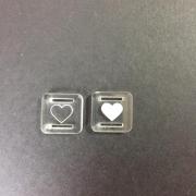 Passante para Elástico Acrílico Transparente - Quadrado - 1,5cm - Coração (5 unidades)