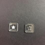 Passante para Elástico Acrílico Transparente- Quadrado- 1,5cm - Estrela (5 unidades)