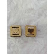 Passante para Elástico em MDF - Quadrado- 1,5cm - Coração (5 unidades)