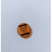 Passante para Elástico - Redondo - 1,5cm - Coração gravado (5 unidades) em MDF