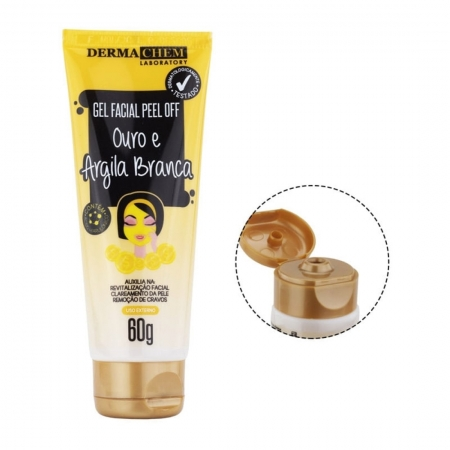 Gel Facial Peel Off Ouro e Argila Branca 60g - Derma Chem