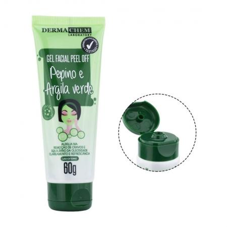 Gel Facial Peel Off Pepino e Argila Verde 60g - Derma Chem