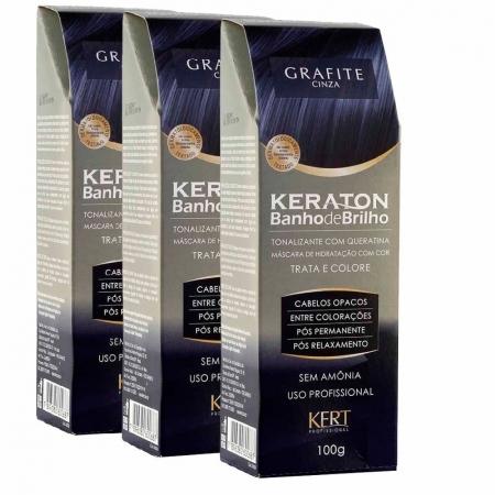kit 3 Tonalizantes Keraton sem Amônia Banho de Brilho Grafite 3x100g - Kert