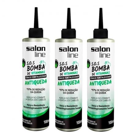 Kit 3 Tônico Fortalecedor Antiqueda SOS Bomba 3x100ml - Salon Line