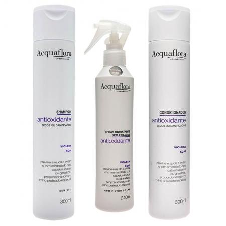 Kit Antioxidante Shampoo Condicionador Cabelos Secos e Danificados Spray - Acquaflora
