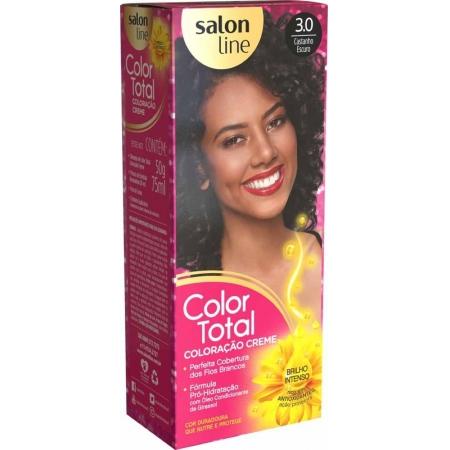Kit Coloração Color Total Creme Castanho Escuro Nº 3.0 - Salon Line