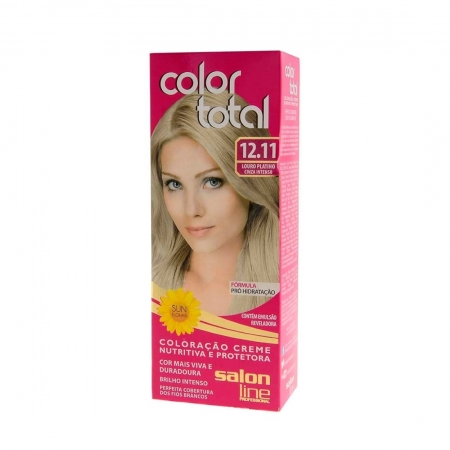 Kit Coloração Color Total Creme Louro Platino Cinza Intenso Nº 12.11 - Salon Line