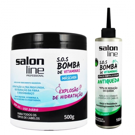 Kit Máscara 500g + Tônico Fortalecedor Antiqueda SOS Bomba 100ml - Salon Line