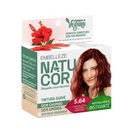 Kit Prático Tintura Permanente de Cabelo Natucor 5.64 Castanho Claro Vermelho Acobreado - Embelleze