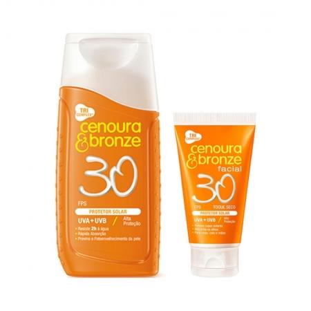 Kit Protetor Solar Corporal e Facial FPS30 - Cenoura & Bronze