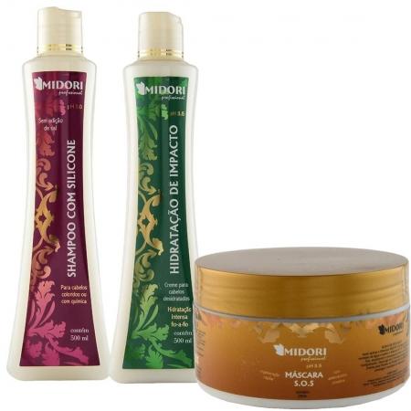 Kit Shampoo com Silicone, Condicionador de Impacto e Máscara Intensiva S.O.S. - Midori Profissional