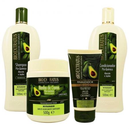 Kit Shampoo,Cond, Creme e Finalizador Pós Química Abacate e Jojoba 500g - Bio Extratus