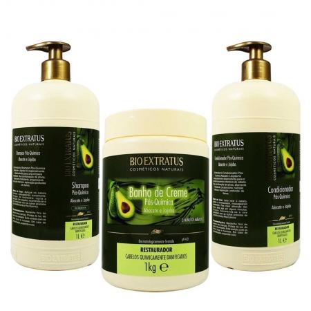 Kit Shampoo, Condicionador e Banho de Creme Pós Química Abacate e  Jojoba  - Bio Extratus