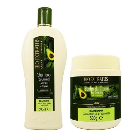 Kit Shampoo e  Banho de Creme Pós Química Abacate e  Jojoba 500g  - Bio Extratus