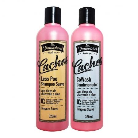 Kit Shampoo Less Poo Condicionador CoWash e Máscara Yamasterol Cachos 320ml - Yamá