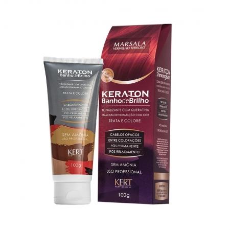 Tonalizante Keraton sem Amônia Banho de Brilho Marsala Vermelho Terroso 100g - Kert