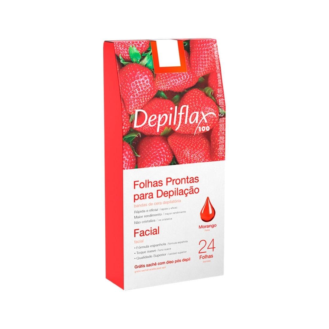 24 Folhas de Cera Depilatória Facial Morango - Depilflax