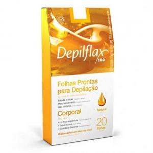 20 Folhas de Cera Depilatória Corporal Natural - Depilflax
