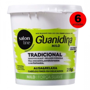 Kit 6 Relaxamento Guanidina Sensitive Scalp Mild Cabelos Finos - Salon Line