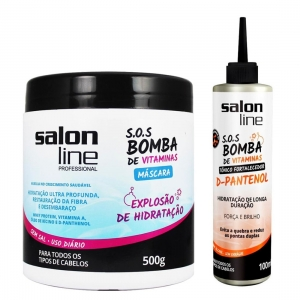 Kit Máscara SOS Bomba 500g + Tônico Fortalecedor D-Pantenol SOS Bomba 100ml - Salon Line