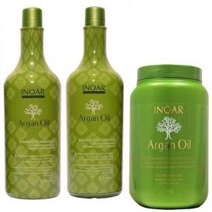 Kit Shampoo + Condicionador 1L + Máscara Argan Oil 1Kg - Inoar