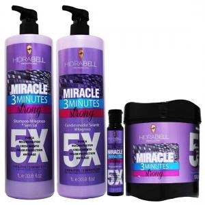 Kit Shampoo Condicionador com Ampola Grátis e Máscara Miracle 3 Minuto 1 Litro - Hidrabell