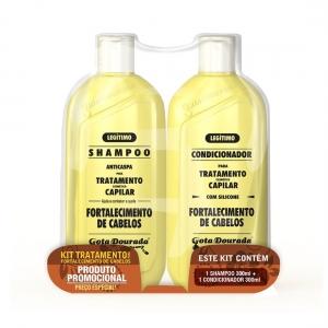 Kit Shampoo e Condicionador Tratamento Para Fortalecimento de Cabelos - Gota Dourada