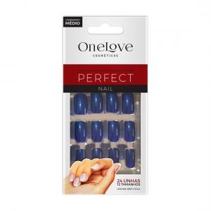Unhas Postiças Perfect Nail OL-509 Blue Comprimento Médio - One Love