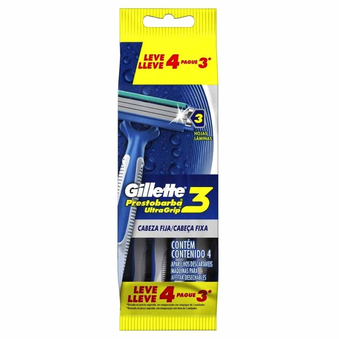 Aparelho Descartável Prestobarba Ultragrip3 contém 4  - Gillette