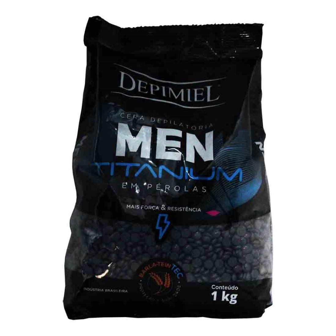Cera Depilatória em Pérolas Men Titanium 1kg - Depimiel