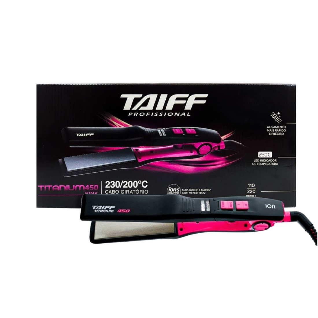 Chapa Titanium 450 Colors Pink 230°C Bivolt - Taiff