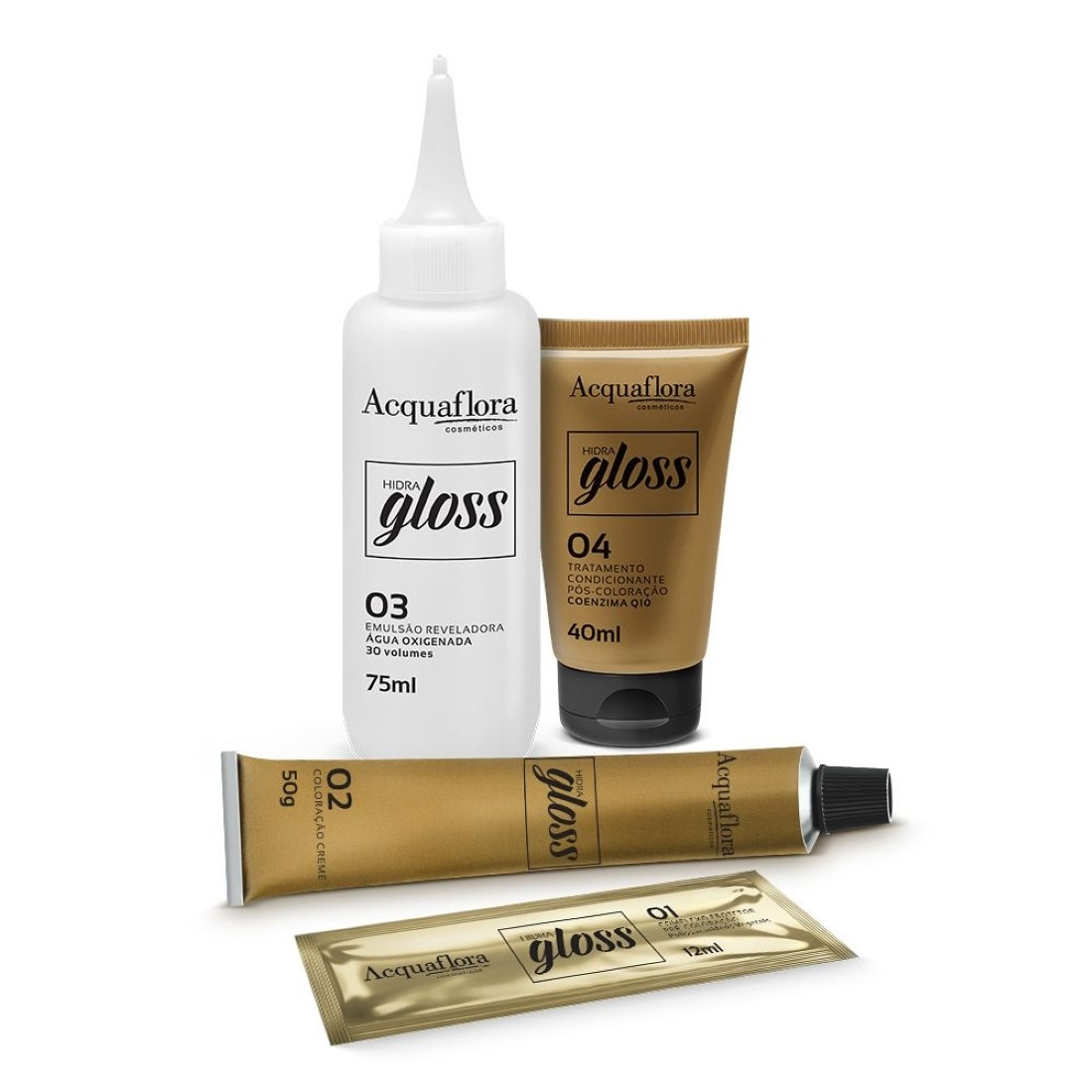 Coloração Creme Hidra Gloss 3.0 Castanho Escuro - Acquaflora