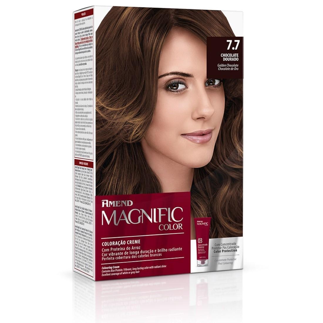 Coloração Creme Magnific Color com Concentrado Protetor Pós Coloração 7.7 Chocolate Dourado - Amend