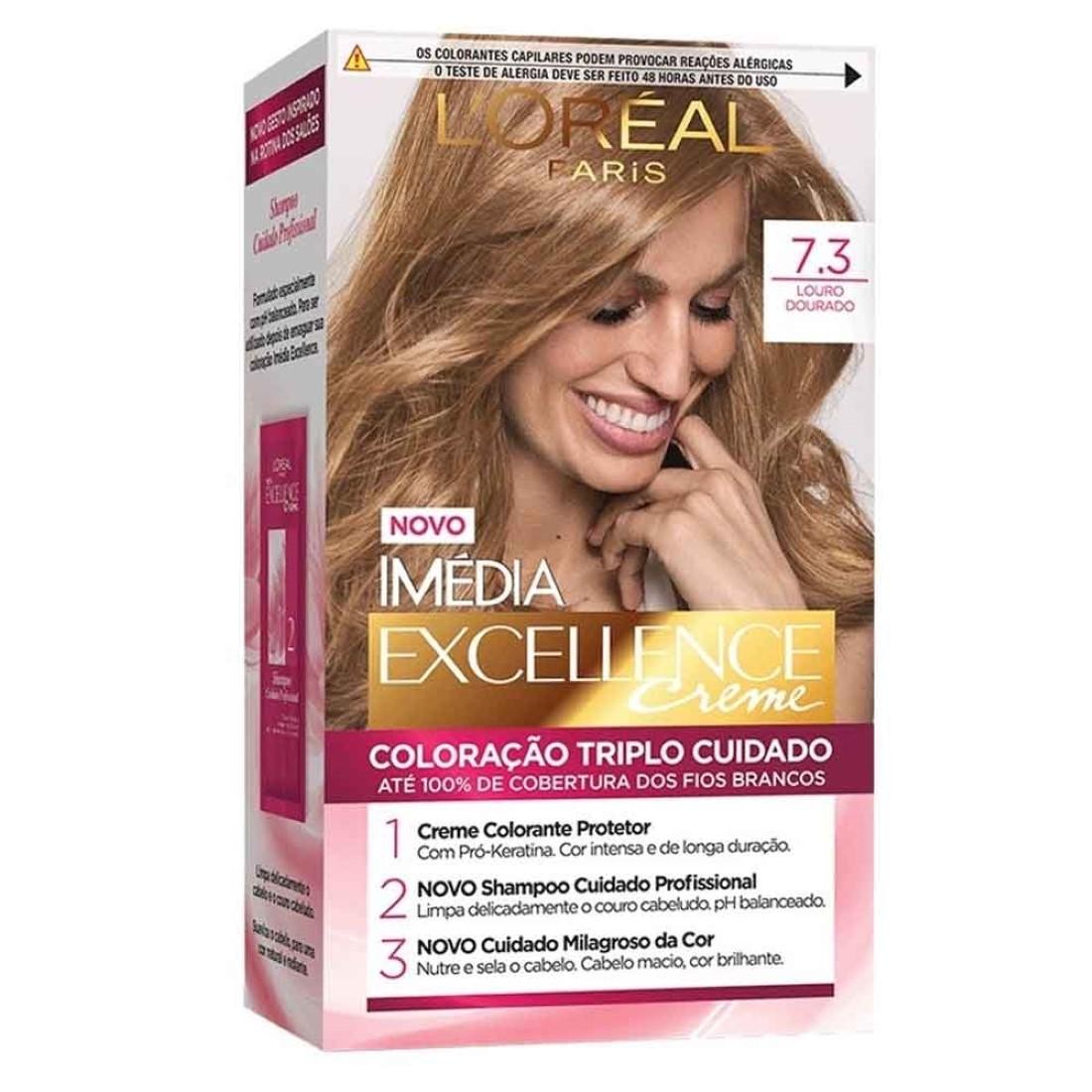 Coloração Imédia Excellence Creme 7.3 Louro Dourado - L'Oréal
