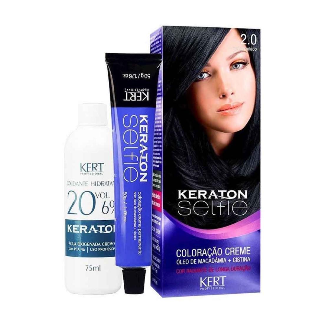 Coloração Keraton Selfie 2.0 Preto Azulado - Kert Profissional