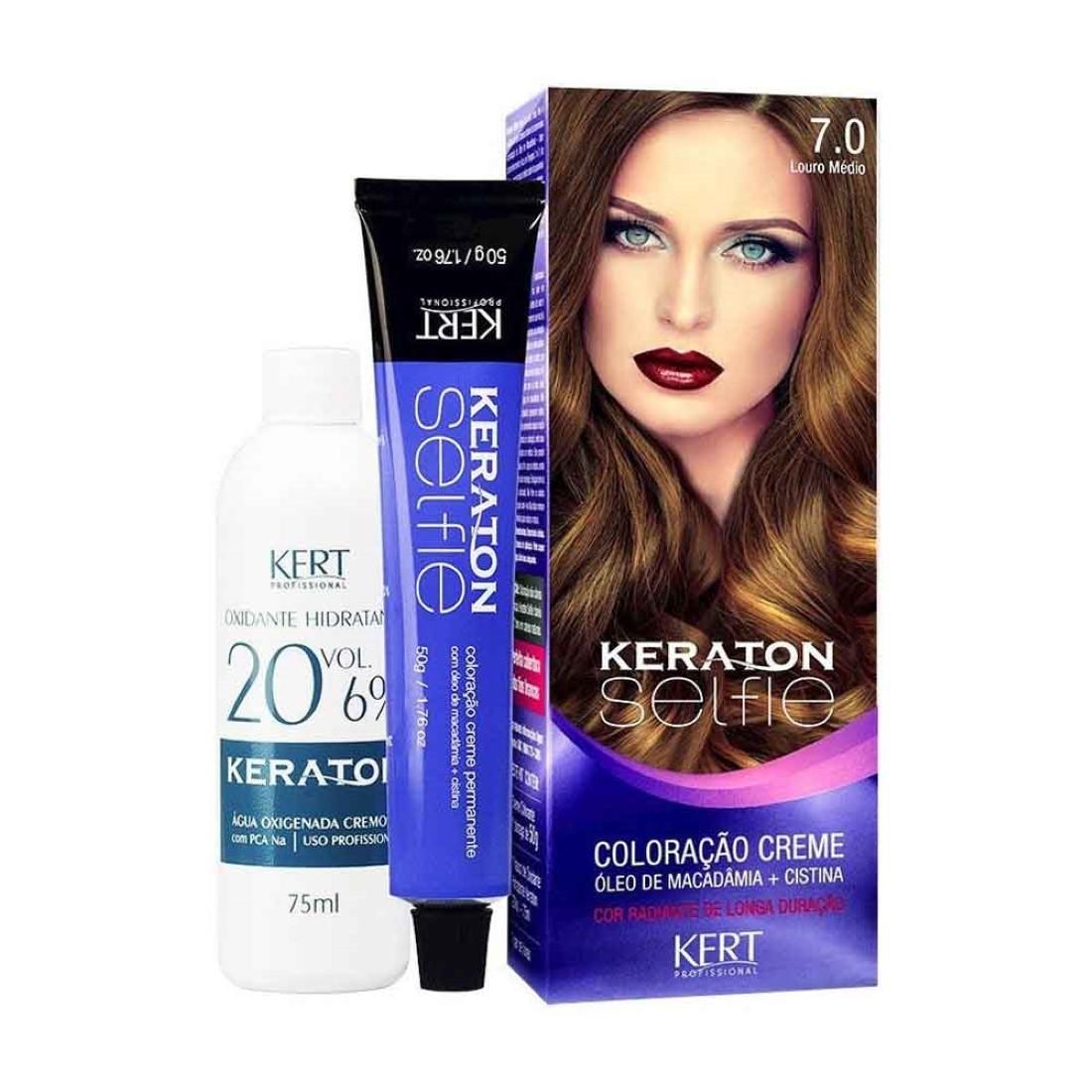 Coloração Keraton Selfie 7.0 Louro Médio - Kert Profissional
