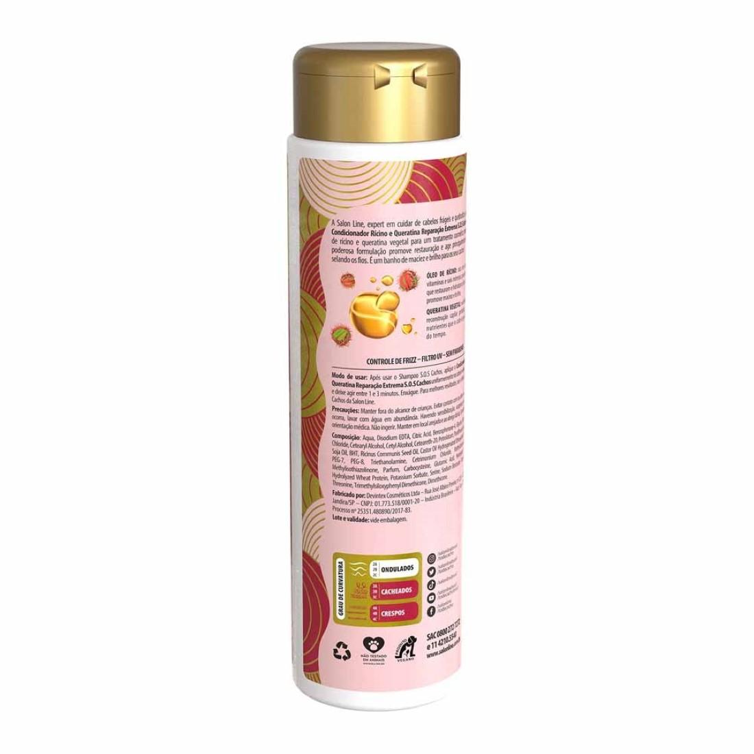 Condicionador S.O.S Cachos Reparação Extrema Rícino e Queratina 300ml - Salon Line