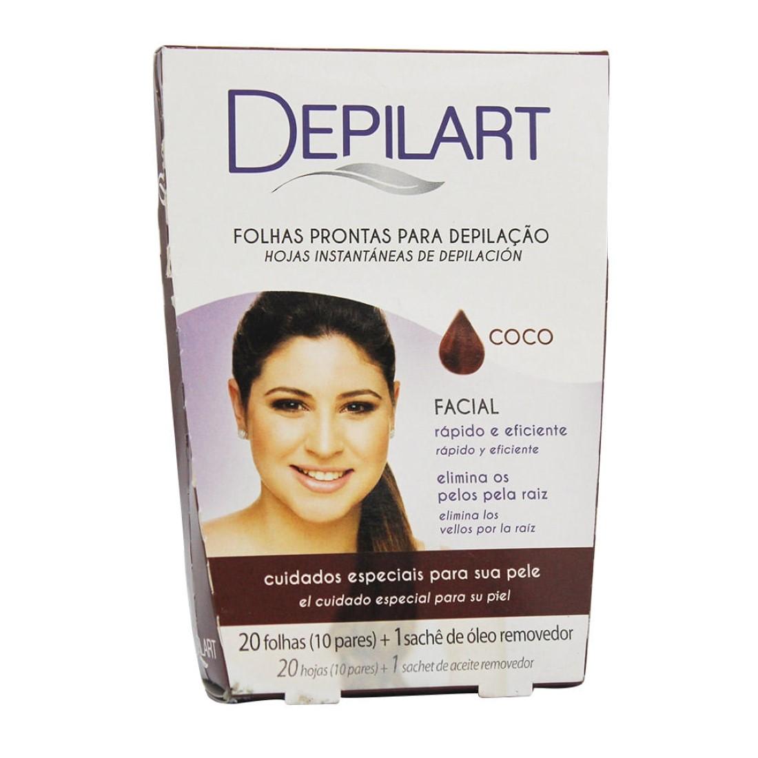 Folhas Prontas para Depilação Facial Coco - Depilart