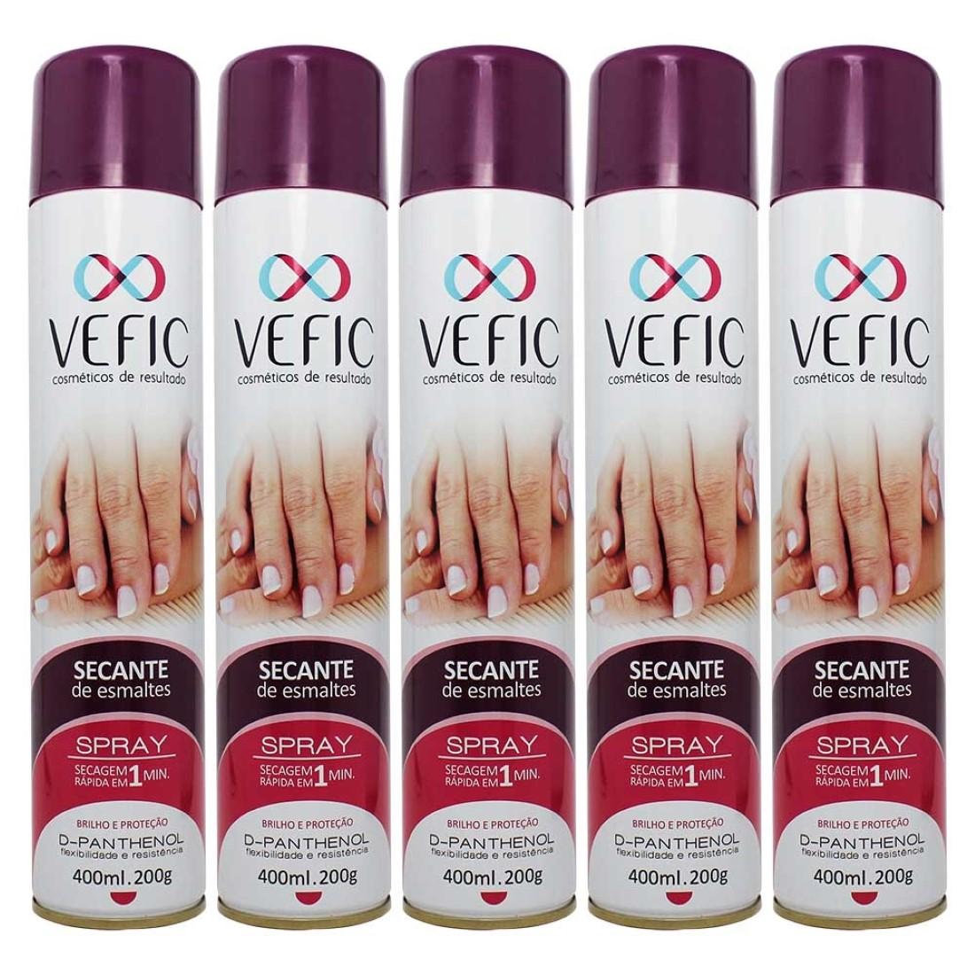Kit 5 Secante de Esmaltes Spray 400ml - Vefic