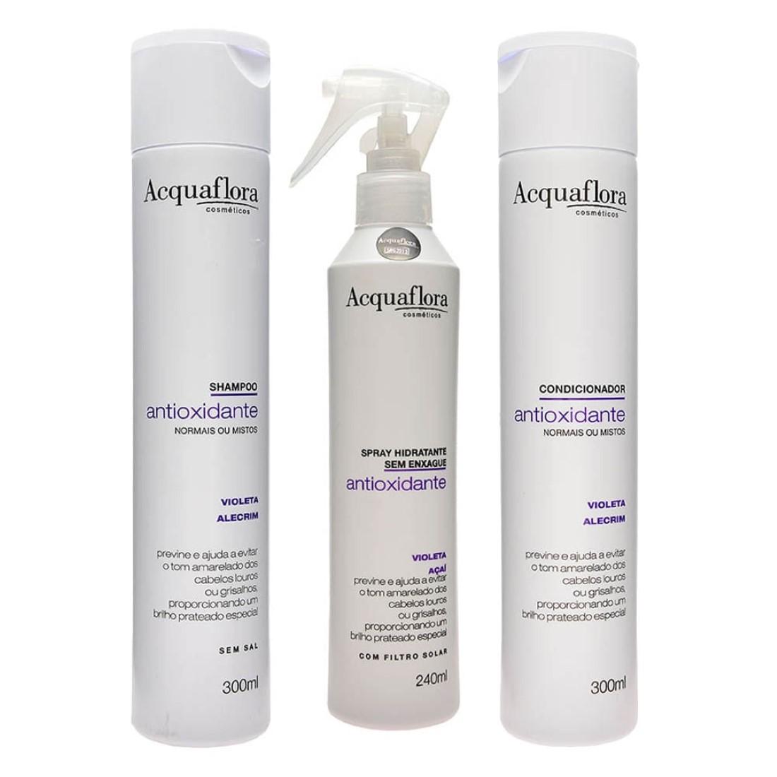 Kit Antioxidante Shampoo Condicionador Cabelos Normais e Mistos Spray - Acquaflora