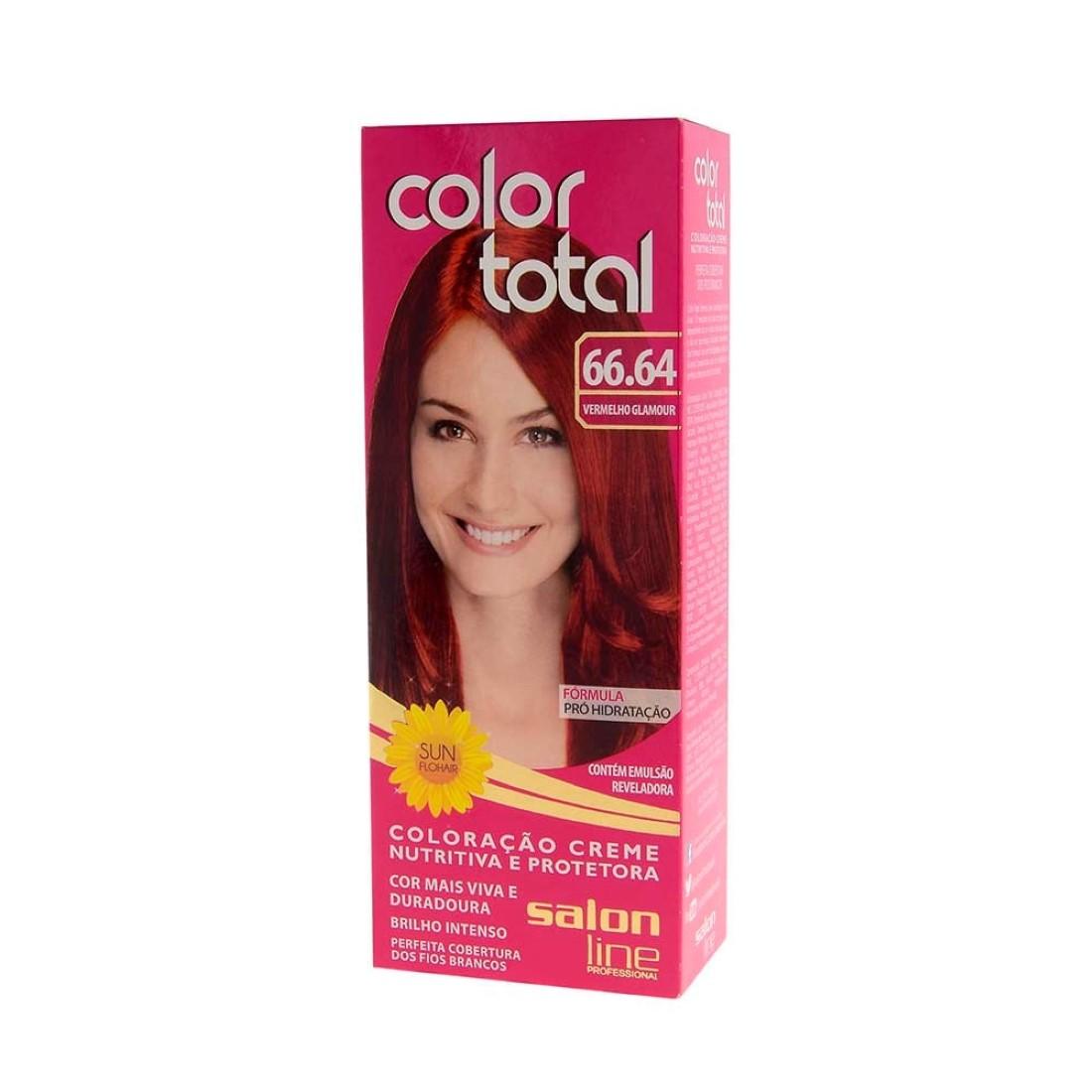 Kit Coloração Color Total Creme Vermelho Glamour Nº 66.64 - Salon Line