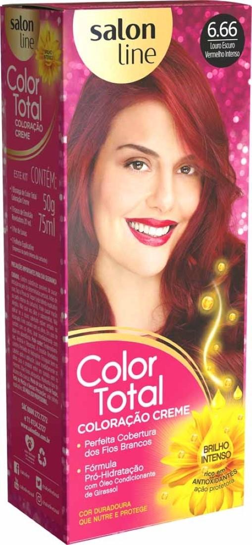 Kit Coloração Creme Color Total N° 6.66 Louro Escuro Vermelho Intenso - Salon Line