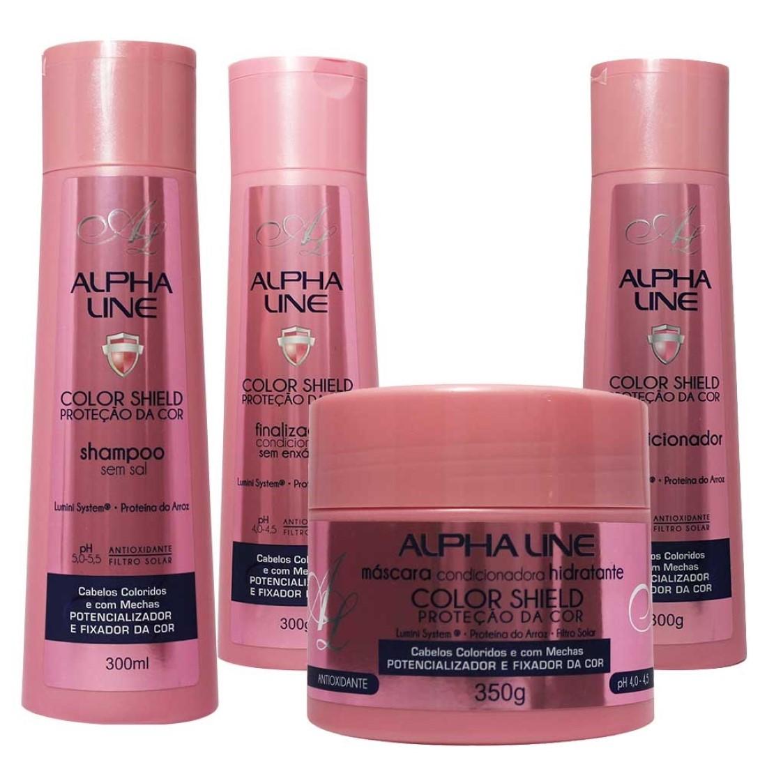 Kit de Shampoo Condicionador Finalizador e Máscara Color Shield Proteção da Cor - Alpha Line