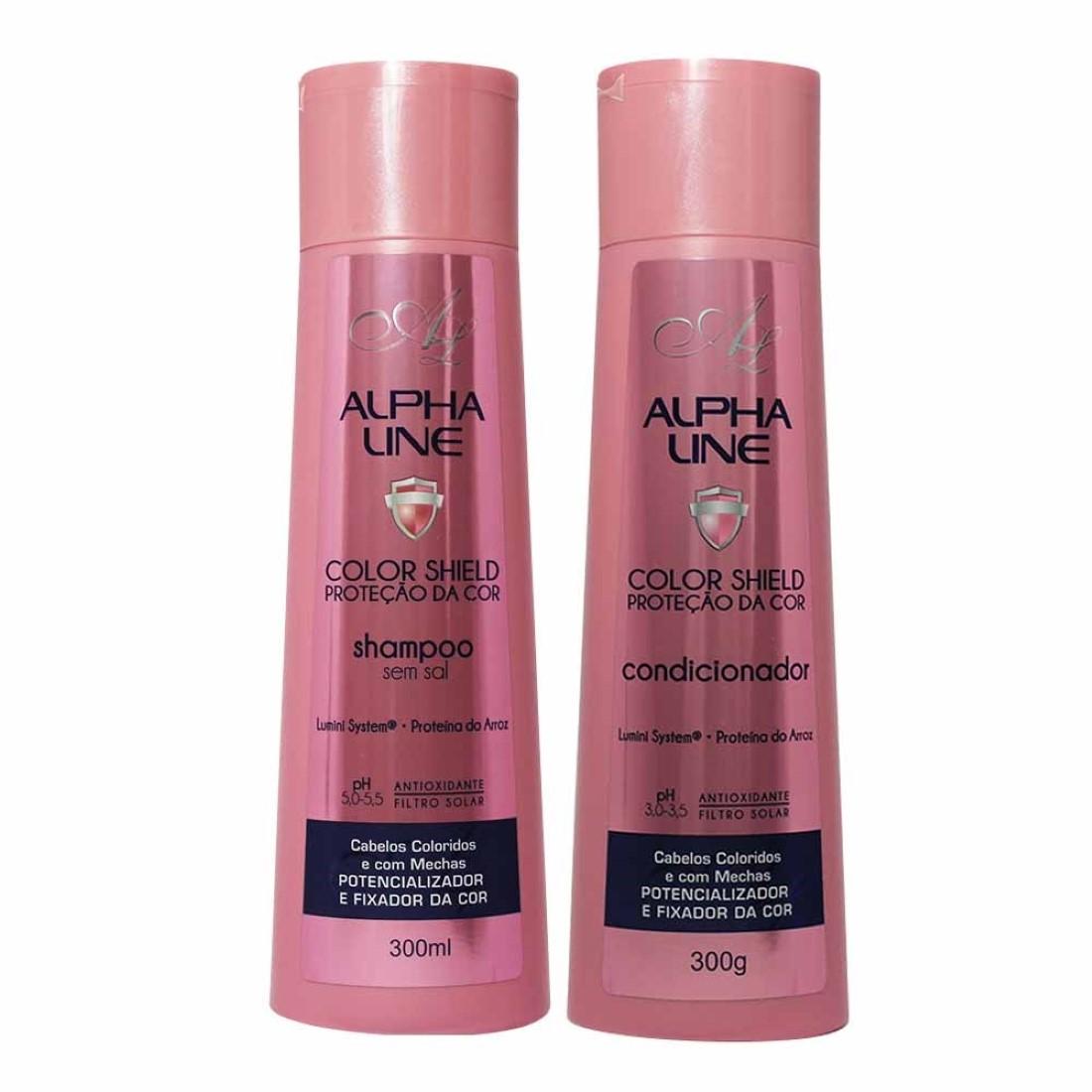 Kit de Shampoo e Condicionador Color Shield Proteção da Cor 250ml - Alpha Line