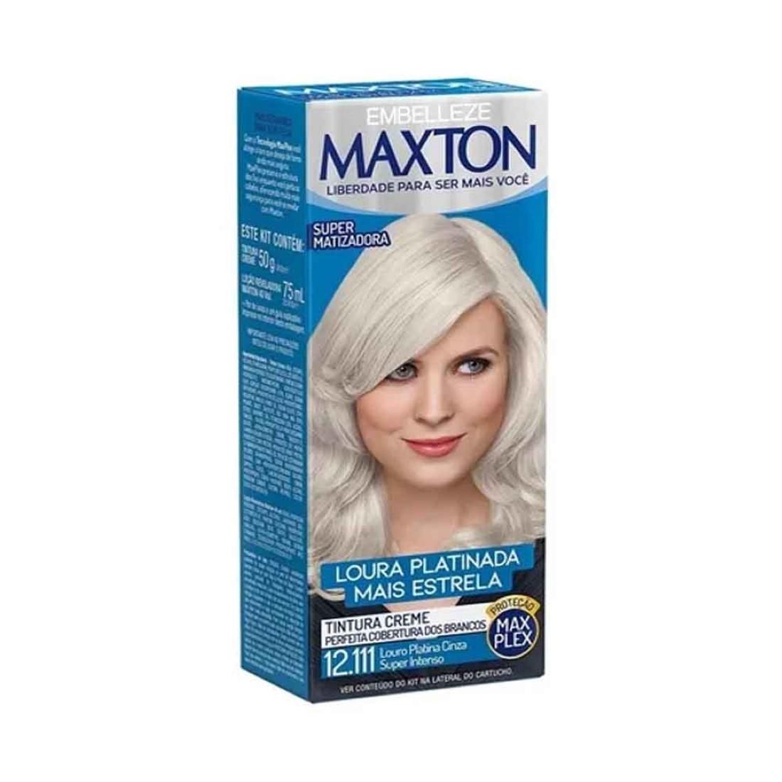 Kit Prático Tintura Creme Maxton 12.111 Louro Platina Cinza Super Intenso - Embelleze