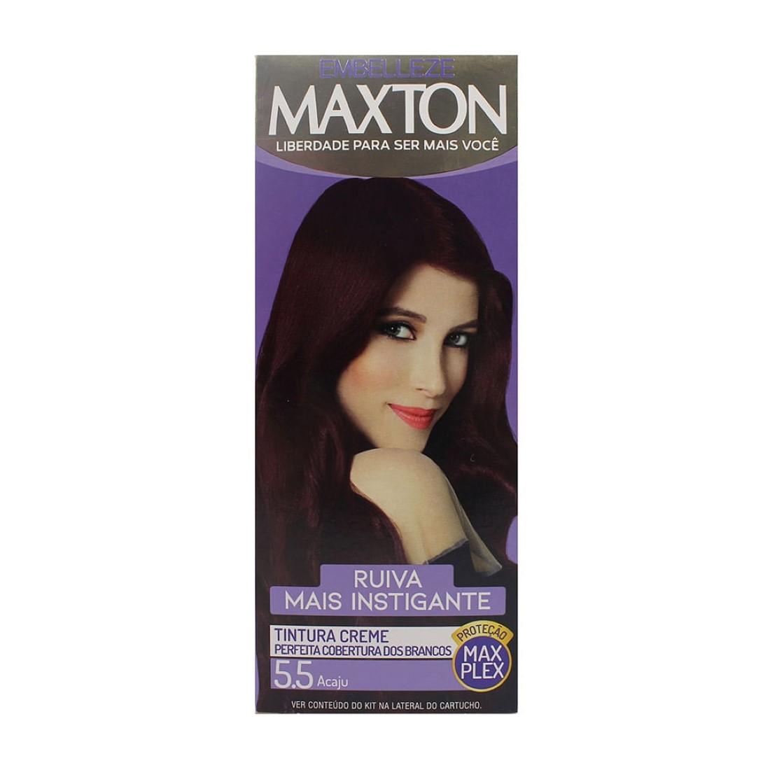Kit Prático Tintura Creme Maxton 5.5 Acaju - Embelleze